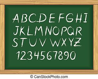 giz, alfabeto, escola, letras, tábua