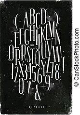 giz, alfabeto, fonte, gótico