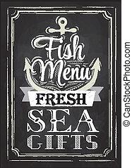giz, cartaz, peixe, menu