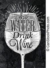 giz, cartaz, vinho vintage