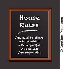giz, casa, regras, tábua