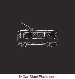 giz, desenhado, icon., trolleybus.