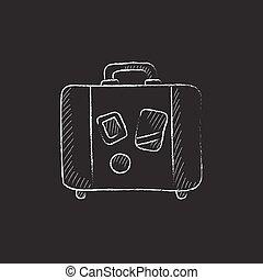 giz, desenhado, suitcase., icon.