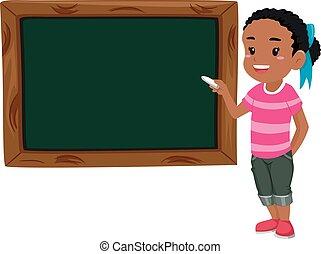 giz, ensinando, menina, tábua, segurando