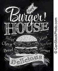 giz, hambúrguer, lettering, casa, cartaz