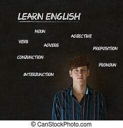 giz, inglês, professor, fundo, aprender