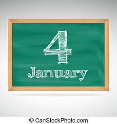 giz, inscrição, 4, quadro-negro, janeiro