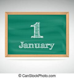 giz, inscrição, quadro-negro, 1, janeiro