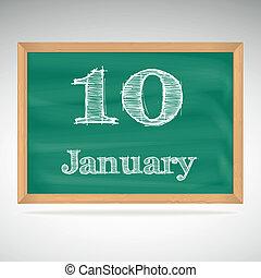 giz, inscrição, quadro-negro, 10, janeiro