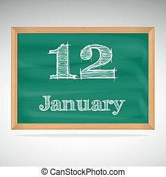 giz, inscrição, quadro-negro, 12, janeiro