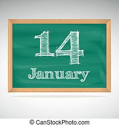 giz, inscrição, quadro-negro, 14, janeiro