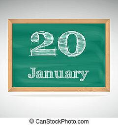 giz, inscrição, quadro-negro, 20, janeiro