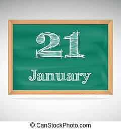 giz, inscrição, quadro-negro, 21, janeiro