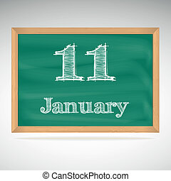 giz, inscrição, quadro-negro, janeiro, 11