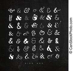giz, jogo, letras, ampersands