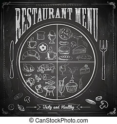 giz, menu, tábua, restaurante