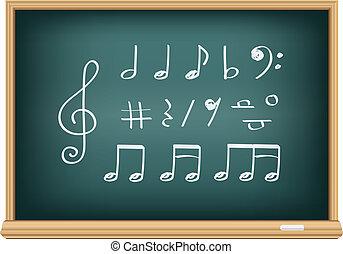 giz, notas, música, desenho