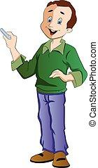 giz, professor, ilustração, segurando
