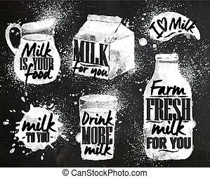 giz, simbólico, leite, desenho