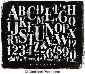 giz, vindima, gótico, alfabeto