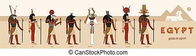 giza., 像, コレクション, ピラミッド, 大きい, エジプト人, 神, に対して, 古代, 8, スフィンクス...
