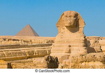 giza, cairo, esfinge, piramides