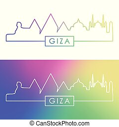 Giza city skyline. Colorful linear style. Editable vector...