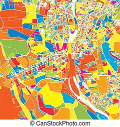 Giza, Egypt, colorful vector map. White streets, railways...