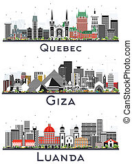 Giza Egypt, Quebec Canada and Luanda Angola City Skylines Set with Gray Buildings Isolated on White. Business Travel and Tourism Concept with Historic Architecture. Cityscapes with Famous Landmarks.
