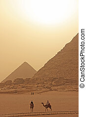 Giza Plateau in a sand storm, Cairo, Egypt
