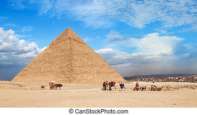 Giza Pyramid Cheops. Landscape of the great pyramids of...