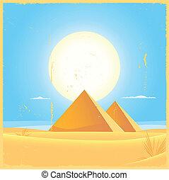 Giza Pyramid Square Poster - Illustration of two Giza...