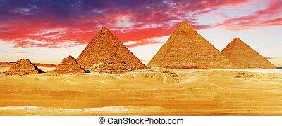 giza, pyramide, befindlich, groß