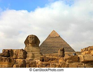 Giza pyramids and sphinx. Egypt. - Giza sphinx with pyramids...