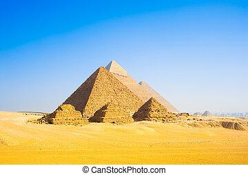 Giza Pyramids - The three pyramids of the pharaohs Cheops,...