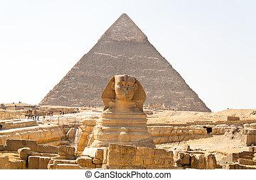 giza, sphinx, egypte