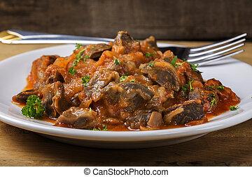 gizzard, plaque, poulet, ragoût
