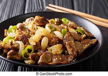 gizzard, sésame, épicé, oignons, ail, traditionnel, coréen,...