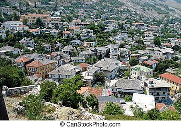 "Turkish, ottoman houses in Gjirokaster city, the ""town of stone"", Albania"