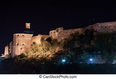 Historical UNESCO castle of Gjirocaster in Southern Albania after dusk