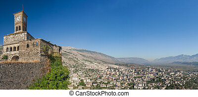 Historical UNESCO protected town of Gjirocaster with a castle on the top of the hill, Southern Albania. Panoramic photo