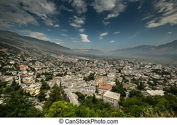 Wide angle view on City of Gjirokastra located in Albanian near boarder of Greece