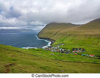 Gjogv village near the ocean top view in Faroe Islands