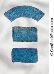 gjord, etiketter, jeans, vit, silke, lögnaktig