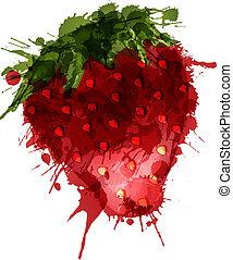 gjord, färgrik, jordgubbe, stänk, bakgrund, vit