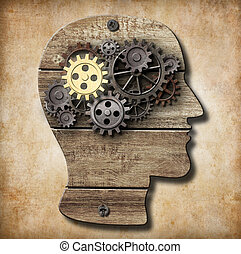 gjord, guld, metall, en, hjärna, rostig, utrustar, modell