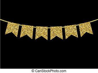 gjord, guld, struktur, flagga, girlander, glitter