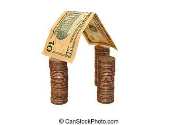 gjord, hus, isolerat, bakgrund, pengar, vit