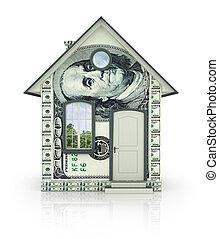 gjord, hus, kontanter, isolerat, bakgrund, pengar, vit