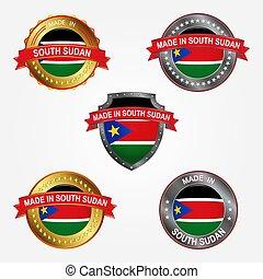 gjord, illustration, sudan., vektor, design, etikett, syd